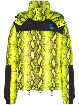 Off-white - Neon Yellow Snake Print Puffer Jacket - Men