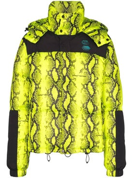 Off-white - Neon Yellow Snake Print Puffer Jacket - Down Jackets
