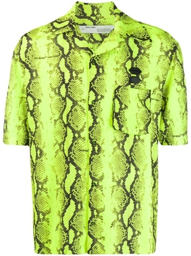 Neon yellow snake-print shirt