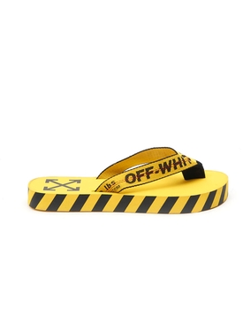 Off-white - Graphic Print Logo Flip-flops Yellow/black - Men