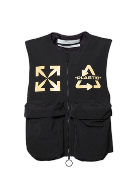 Recycle logo vest BLACK/YELLOW