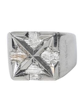Silver-tone arrow signet ring