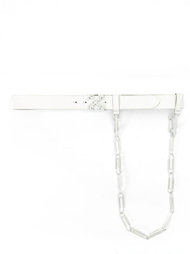Tonal paperclip chain belt WHITE