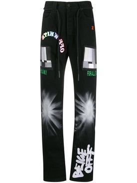 Off-white - Multicolored Embroidered Jeans - Men