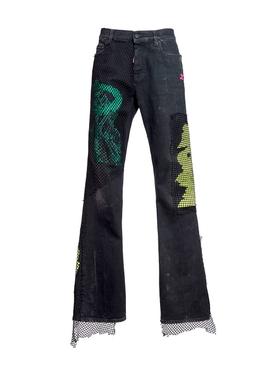 fishnet detail jeans