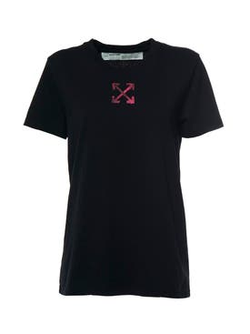 Off-white - Painted Arrow Casual T-shirt Black Fuchsia - Women