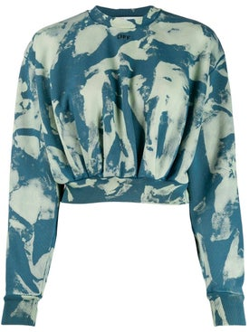 Off-white - Cropped Tie-dye Sweatshirt Blue - Women