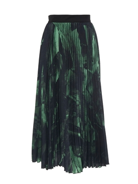 GREEN BRUSH STROKE PLISSE SKIRT