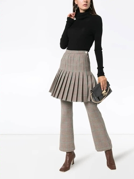 pleated checked mini skirt