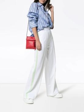 wide leg side stripe track pants WHITE