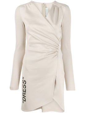 Off-white - Ribbed Sleeve Ruched Dress - Women