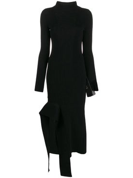 Off-white - Black Asymmetric Turtleneck Dress - Women