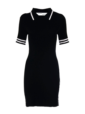 Industrial Knit Polo Dress Black