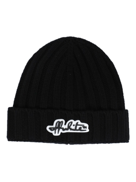 Black wool logo beanie hat