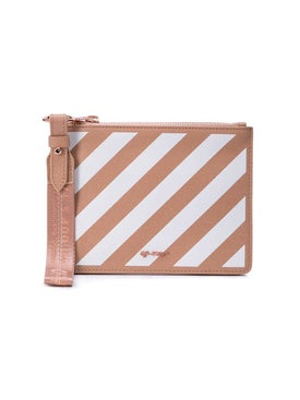 Off-white - Diagonal Stripe Zipped Pouch Nude - Women