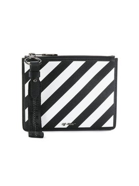 Off-white - Diagonal Stripe Zipped Pouch Black And White - Women
