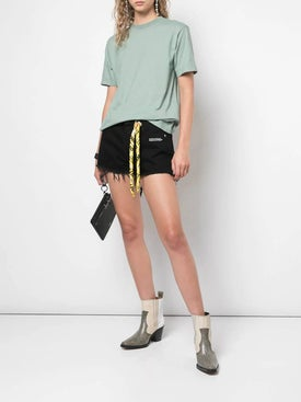 Off-white - Twisted Scarf Detailed Denim Shorts - Women