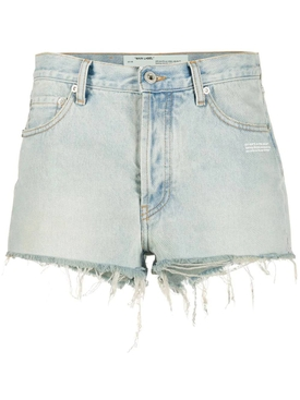 Bleached denim shorts