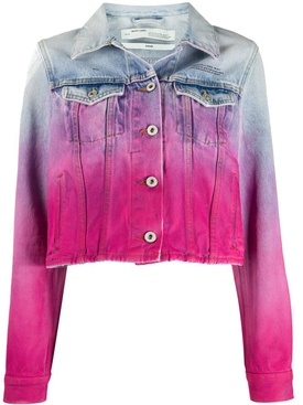 Pink gradient effect denim jacket