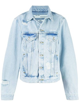Off-white - Light Blue Embroidered Denim Jacket - Denim