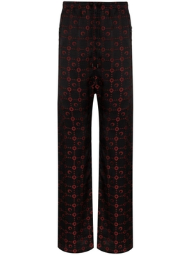 Black and red silk logo pants