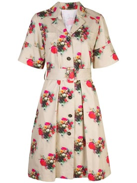 Adam Lippes - Floral Short Sleeve Belted Dress - Women