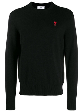 Wool crew neck sweater BLACK