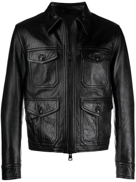 Black zipped leather jacket
