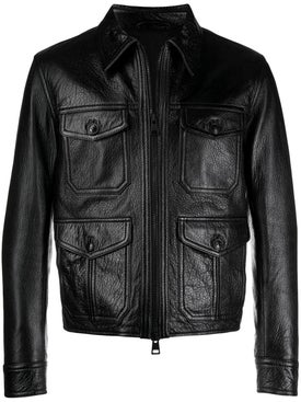 Ami Alexandre Mattiussi - Black Zipped Leather Jacket - Men