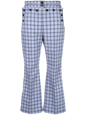 checked high-waist flared trousers