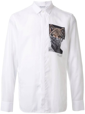 Photo print button-up shirt