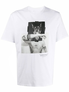 Doberman graphic t-shirt WHITE