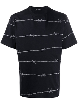Barbed wire print t-shirt BLACK/GREY
