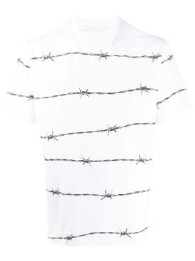 Barbed wire print t-shirt WHITE/GREY