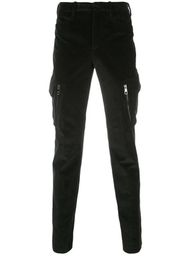 Black skinny corduroy trousers