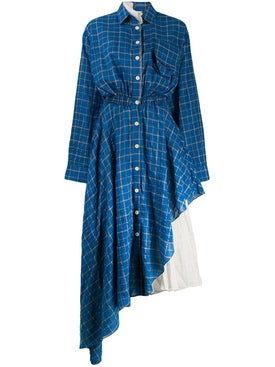 Natasha Zinko - Blue Check Asymmetric Shirt Dress - Women