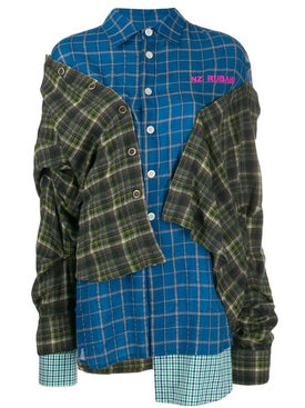 Natasha Zinko - Asymmetric Layered Plaid Shirt - Women
