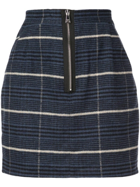 checked front zip mini skirt