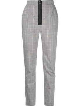grey check print pants