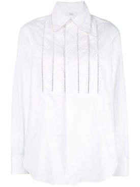 Area - Crystal-embellished Bib Tuxedo Shirt - Women