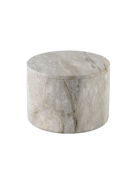 large round stone box GREY