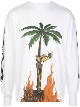 Palm Angels - Burning Skeleton Long Sleeve T-shirt - Men