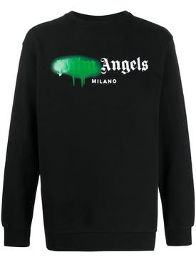 Palm Angels - Black And Green Spray Logo Sweater - Men