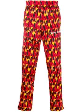 Flame print track pants