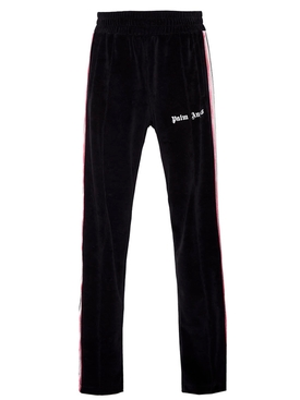 chenille side stripe track pants BLACK