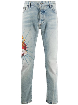 Scared heart denim jeans