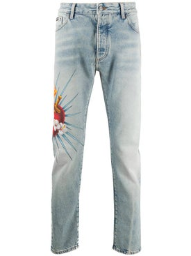 Palm Angels - Scared Heart Denim Jeans - Men