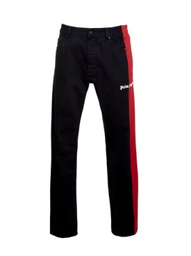 Palm Angels - Bootcut Track Denim Jeans Black-red - Denim