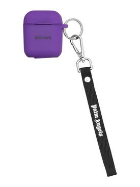 Palm Angels - Logo Airpods Case Key Chain Loop Purple/white - Women