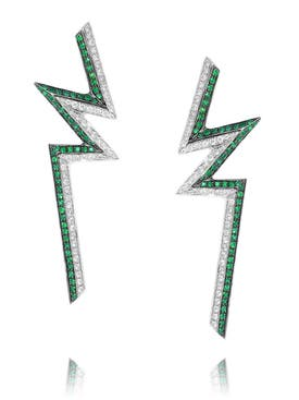 Ralph Masri - Phoenician Emeralld Bolt Earrings - Women